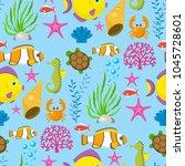 aquatic funny sea animals... | Shutterstock .eps vector #1045728601
