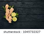 fresh ginger  lemon and lime on ... | Shutterstock . vector #1045732327
