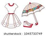 vector mockup. white dress ... | Shutterstock .eps vector #1045733749