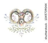 watercolor portrait of ram with ... | Shutterstock . vector #1045739044
