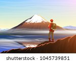 mountain fuji with tourist ... | Shutterstock .eps vector #1045739851