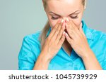 pain. tired exhausted stressed... | Shutterstock . vector #1045739929