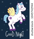 cute pony card with quote  good ... | Shutterstock .eps vector #1045742944