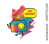 say cheese text balloon with...   Shutterstock .eps vector #1045751134