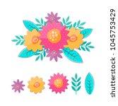 vector meadow flowers... | Shutterstock .eps vector #1045753429
