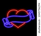 neon heart with ribbon around.... | Shutterstock .eps vector #1045756294
