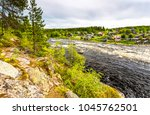 forest river village landscape | Shutterstock . vector #1045762501