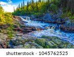 mountain forest river landscape | Shutterstock . vector #1045762525