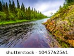 mountain forest river landscape | Shutterstock . vector #1045762561
