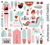 big set of stylish elements on... | Shutterstock .eps vector #1045766851