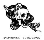 tattoo with skull and snake.... | Shutterstock .eps vector #1045773907