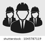 engineer team icon on gray...