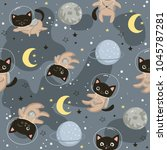 seamless pattern with cute cats ... | Shutterstock .eps vector #1045787281