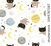 seamless pattern with cute cats ...   Shutterstock .eps vector #1045787287