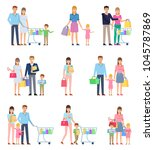 group of people on shopping ... | Shutterstock .eps vector #1045787869