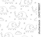 cute seamless pattern with... | Shutterstock .eps vector #1045788037