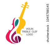 musical logo. silhouette of a... | Shutterstock .eps vector #1045788145