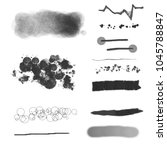 set of black paint  ink brush... | Shutterstock . vector #1045788847