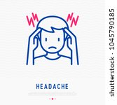 headache  migraine thin line...   Shutterstock .eps vector #1045790185