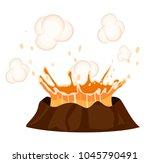 massive volcanic eruption...   Shutterstock .eps vector #1045790491