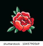 closeup of single red rose with ... | Shutterstock .eps vector #1045790569