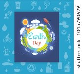 earth day poster with different ... | Shutterstock .eps vector #1045790629