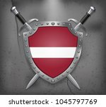 flag of latvia. the shield with ... | Shutterstock .eps vector #1045797769