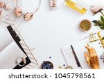 desktop flatlay scene  with... | Shutterstock . vector #1045798561