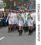 Small photo of Russia, Saint Petersburg - May 9, 2017: Military parade and girls as members of armed forces and police. Dress uniform of Air power (airforce)