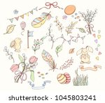 spring elements set can be used ... | Shutterstock .eps vector #1045803241