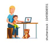 mother sitting with a child on... | Shutterstock .eps vector #1045808551