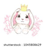 hand drawn vector rabbit  cute... | Shutterstock .eps vector #1045808629