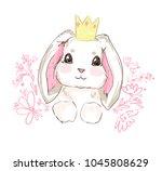 Stock vector hand drawn vector rabbit cute bunny 1045808629