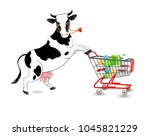 vector illustration. cow and... | Shutterstock .eps vector #1045821229