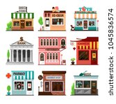 set of vector shops and stores... | Shutterstock .eps vector #1045836574