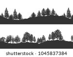 forest trees silhouettes... | Shutterstock . vector #1045837384