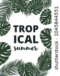 summer vector banner with palm... | Shutterstock .eps vector #1045844551
