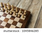 cropped view of chess board... | Shutterstock . vector #1045846285