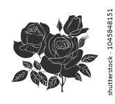 black silhouette of roses... | Shutterstock .eps vector #1045848151