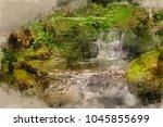 digital watercolor painting of... | Shutterstock . vector #1045855699