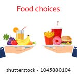 food choice. healthy and junk... | Shutterstock . vector #1045880104