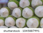 fresh coconuts for sale ... | Shutterstock . vector #1045887991