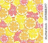 seamless vector citrus pattern. ... | Shutterstock .eps vector #1045888297
