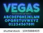 neon light alphabet ...   Shutterstock .eps vector #1045888405