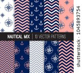 nautical patterns with anchors  ... | Shutterstock .eps vector #1045893754