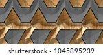3d solid oak panels with grey... | Shutterstock . vector #1045895239