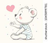 cute bear cartoon hand drawn... | Shutterstock .eps vector #1045899781