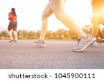 marathon running race  run up... | Shutterstock . vector #1045900111