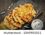 homemade irish potato pancakes  ... | Shutterstock . vector #1045901011