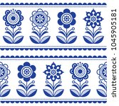 scandinavian seamless folk art... | Shutterstock .eps vector #1045905181